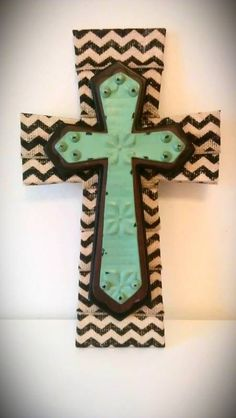 Burlap Stacked Wood Crosses with Green by MadeWithLoveByLori