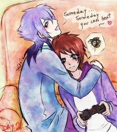 """Second day of my otp! YEY! """" Cuddling somewhere """" HAHAHAHA X'D I love Rigby faces, is sooooo frustrated!! Mordecai is holding the frustration of being so bad player gaming of Rigby, XDDD ~ Mordo se..."""
