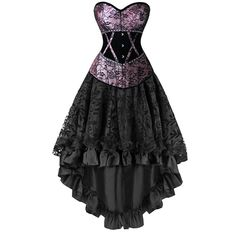 Elegant Gothic Burlesque Dancing Corset Skirt Set
