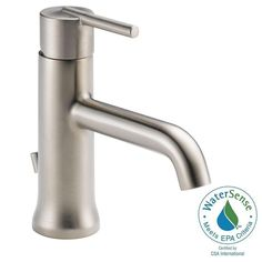 Delta Trinsic Single Hole Single-Handle Bathroom Faucet in Stainless with Metal Pop-Up - 559LF-SSMPU - The Home Depot