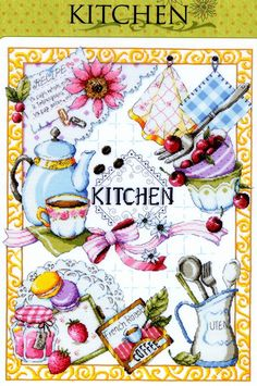Kitchen - Counted cross stitch Kit - Sodastitch SODA SO-K3 #SODAstitchDMC #PillowCover