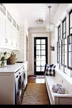 Entryway mudroom laundry room combo in farmhouse style