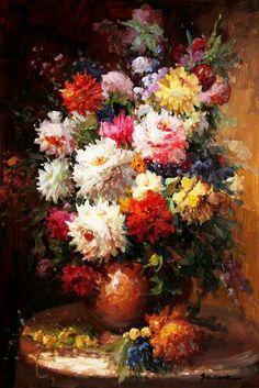 Flores e pintura