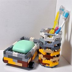 DIY these awesome lego bathroom accessories with your kids legos. These would be awesome in a kids bathroom and the possibilities for containers are endless. make pencil holders, mail holders, sooo much Lego Bathroom, Bathroom Kids, Kids Bath, Bathroom Storage, Lego Soap, Lego Decorations, Party Set, Lego Craft, Minecraft Crafts