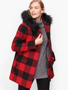 Shop Talbots for modern classic women's styles. You'll be a standout in our Faux Fur Trim Wool Jacket - Buffalo Check - only at Talbots! Red Puffer Vest, Women's Puffer, Boho Fashion, Girl Fashion, Fashion Outfits, Trendy Fashion, Classic Style Women, Modern Classic, Cold Weather Fashion