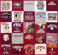 Florida State Seminoles T-Shirt Quilt, FSU I will make one for myself when I graduate Florida State Football, Florida State University, Florida State Seminoles, College Football, Craft Projects, Sewing Projects, Quilting Projects, Craft Ideas, Santa Monica