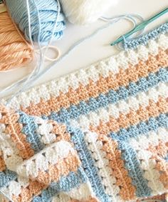 Daisy Farm Crafts: Modern peach and blue Granny Blanket