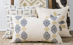 With the block printing technique, personalizing pillows—and anything else—is simple! 1) Position a mat under your pillow cover for best results. 2) Mark 2 inches from each side vertically. 3) From that first point, mark 2 more vertical lines according to the aztec medium block. 4) Mark horizontal lines according to each block's width. 5) Print pieces according to the design.