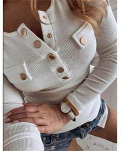 Women Autumn Long Sleeve Button Rib Blouse Elegant 2019 Winter Casual Solid Color Basic Shirt Blusas Lady Plus Size Tops Blouses For Women, T Shirts For Women, Girls Tunics, Trend Fashion, Daily Fashion, Women's Fashion, Fashion Online, Fuchsia, Basic Tops