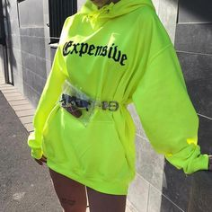 long sleeve hooded letters print loose long casual tops autumn winter women fashion christmas sweatshirt hoodies Size S Color Green Neon Outfits, Edgy Outfits, Mode Outfits, Grunge Outfits, Girl Outfits, Summer Outfits, Fashion Outfits, Fashion Trends, Fashion 2018