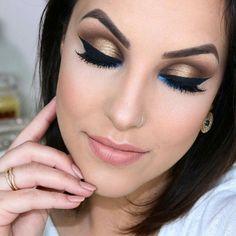 Make-up, maquiagem, dourado, gold, azul, blue, detalhe, nude, batom, cílios
