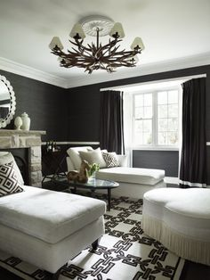 """Another """"black"""" room, I'm in Heaven! Especially love the stonework mantle and the bouillon fringe on the ottoman. Greg Natale 