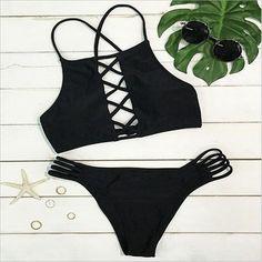 $7.99 (Buy here: https://alitems.com/g/1e8d114494ebda23ff8b16525dc3e8/?i=5&ulp=https%3A%2F%2Fwww.aliexpress.com%2Fitem%2F2016-High-Neck-Bikini-Swimsuit-Women-Solid-Bandage-Hollow-Out-Swimwear-Sexy-Brazilian-Bikini-Set-Padded%2F32773861937.html ) 2016 High Neck Bikini Swimsuit Women Solid Bandage Hollow Out Swimwear Sexy Brazilian Bikini Set Padded Beach Wear Bathing Suit for just $7.99