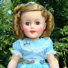 1957 Ideal Shirley Temple Doll 14.5 Inch Vinyl in Blue Party Dress Pristine by AmericanBeautyDolls on Etsy