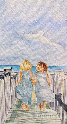 sisters, friends, beach, sand, water, lake, boardwalk, deck, sweet, sand, ocean