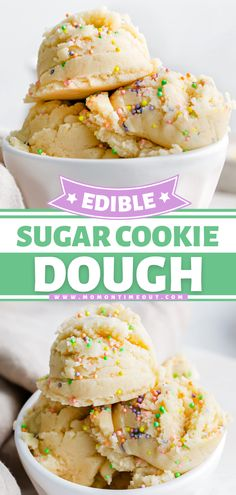 Edible Sugar Cookie Dough is an easy dessert recipe perfect for a quick treat or snack! This fun comfort food recipe is made with heat-treated flour and is egg-free. Save this sweet treat! Edible Sugar Cookie Dough, Cookie Dough Recipes, Easy Sugar Cookies, Easy Snacks, Yummy Snacks, Snack Recipes, Dessert Recipes, Yummy Food, Eggless Desserts