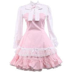 Women's Front Tie Ruffles Vintage Victorian Lolita Dress ($55) ❤ liked on Polyvore featuring dresses, vintage pink dress, pink ruffle dress, pink frilly dress, pink dress and frill dress