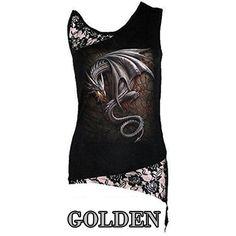 Women T-Shirt Sexy Skull Print Sleeveless Punk Tee Shirt Lace Patchwork Black Tee Tops Pullovers Plus Size LJ8403R