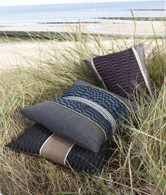 High design using a mix of stripes and solids from the European Sunbrella collection. Pillows, Cushions, Duvet cover, all work well for your boat or home.