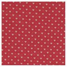 Tissu rouge  petits coeurs blancs