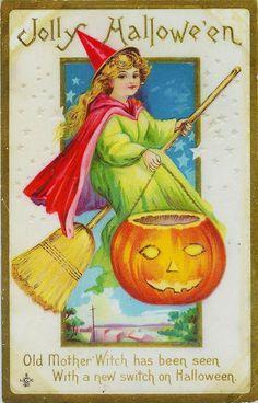 Vintage Halloween Postcard Witch Broom, Witch Cat, Vintage Witch, Vintage Halloween, October Country, Halloween Post, Cat Pumpkin, Old Mother, Jack O