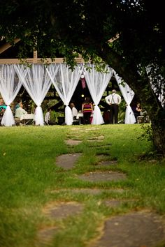 DIY Wedding Decorations.  Park pavilion, doesn't have to look like a public park- try Lill curtain panels from IKEA