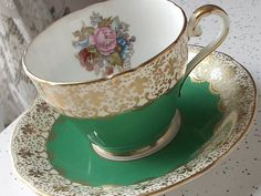RARE Antique Aynsley JA Bailey signed tea cup set, English tea cup and saucer, green tea cup, gold fleur de lis, bone china tea set sold 125,59
