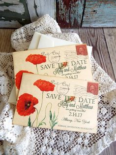 Vintage Postcard with Orange Poppies Wedding by AVintageObsession
