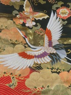 The Japanese embroidery is a brilliant piece of art creation spanning centuries old and is used to decorate ceremonial garments like on Japanese kimonos and other decorative items. Japanese Textiles, Japanese Patterns, Japanese Fabric, Japanese Prints, Japanese Design, Japanese Kimono, Japanese Geisha, Motif Kimono, Japanese Crane