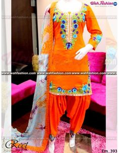 Give yourself a stylish & designer look with this Orange Punjabi Suit. Embellished with Embroidery work and lace work. Available with matching bottom & dupatta. It will make you noticable in special gathering. You can design this suit in any color combination or on any fabric. Just whatsapp us for more details.  For more details whatsapp us: +919915178418
