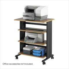 Safco Muv Four Level Adjustable Printer Stand - Medium Oak/Black Business Furniture, Office Furniture, Printer Stand, Polycarbonate Panels, Grey Laminate, Office Organization, Organizing, Wood Design, Space Saving