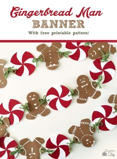 Gingerbread man banner with free printable pattern More