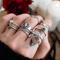 ❧ T H E W E S T IS C A L L I N G ❧ In store now ☞ shopdixi.com ❧ shop dixi // dixi // boho // bohemian // jewelry // jewellery // grunge // goth // hippie // hipster // gothic // badass // black // opal // killing moon // wishbone // sterling silver // midi // thumb // ring