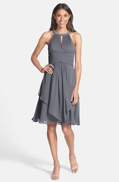 Eliza J Embellished Neck Layered Chiffon Fit & Flare Dress available at #Nordstrom