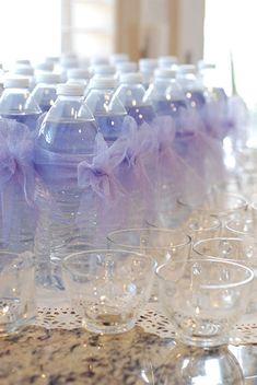purple baby shower tulle bow water bottle