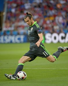 #EURO2016 Gareth Bale in action for Wales during the UEFA EURO 2016 semi final match between Portugal and Wales at Stade des Lumieres on July 6 2016 in Lyon...