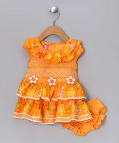 Take a look at this Orange Smocked Dress & Diaper Cover - Infant by Lele for Kids on #zulily today!