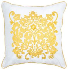 Rizzy Home Yellow 18 Inch x 18 Inch Pillow Cover with Hidden Zipper traditional bed pillows and pillowcases