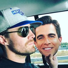 On my way to Wrestlemania. In a borderline tragic turn of events my good buddy Josh Segarra couldn't make it because he's busy being ABSOLUTELY TERRIFYING on Arrow. So naturally, I made a cardboard cut out of his head.