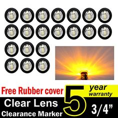 Pack of 20 TMH 34 Inch Mount Clear Lens Amber LED Clearance Bullet Marker lights Side LED marker lights for trailer Truck RV Car Bus Van >>> Learn more by visiting the image link. (This is an affiliate link) Car Body Cover, Light Trailer, Boat Lights, Trailer Interior, Green Led, Roof Light, Silicone Rubber, Car Accessories, 5 Years