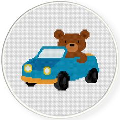 FREE for June 26th 2015 Only - Bear Driving Car Cross Stitch Pattern