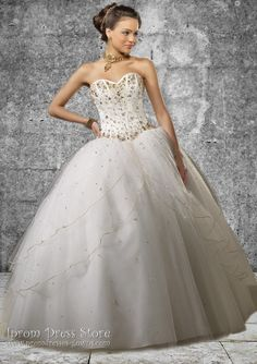 Ball Gown Sweetheart Neckline Floor length Sleeveless Tulle Quinceanera Dress with Beading (SAS481)