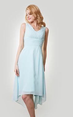 US$89.28 – High-Low V Neck Chiffon Bridesmaid Dress with Ruching. www.junebridals.... Shop for long dresses, designer dresses, casual dresses, occasion dresses, backless dresses, elegant dresses, black tie dresses, We have a great number of 2017 spring bridesmaid dresses on sale. Available in Greenery, Gold, Yellow, Pink, Lavender, Burgundy, Peach…#JuneBridals.com