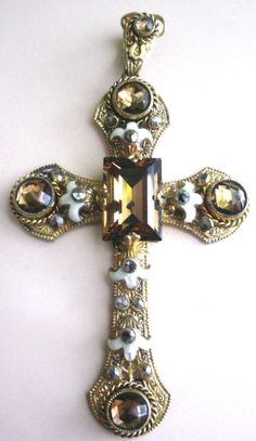 Estate Antique Cross Pendant with Topaz by scarlettstreasures