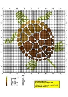 Tortue-verte-et-marron. This would make a cute latch hook rug for a bathroom… Cross Stitch Pillow, Cross Stitch Baby, Cross Stitch Animals, Cross Stitch Charts, Cross Stitch Designs, Cross Stitch Patterns, Cross Stitching, Cross Stitch Embroidery, Latch Hook Rug Kits
