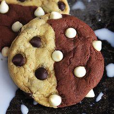 Chewy fudgey brownie meets soft chocolate chip cookie in this hybrid treat! Brownie + Cookie = Brookie!