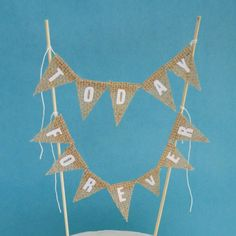 Cake topper wedding Burlap and white Today by Hartranftdesign, $19.50