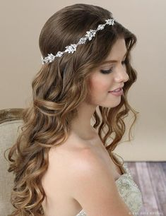 Bel Aire Bridal 6582 Contemporary Rhinestone Halo Enhance your special day with a touch of bling!_ Marquise and round stones sparkle in a striking halo that is both elegant and glamourous. This piece encircles your hair and looks lovely with or without a Curly Wedding Hair, Elegant Wedding Hair, Wedding Hair Down, Wedding Hairstyles For Long Hair, Bride Hairstyles, Down Hairstyles, Autumn Wedding, Simple Hairstyles, Summer Wedding