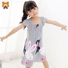Girls Princess Nightgowns Summer Short Sleeve Striped Cartoon Nightdress  Knitted Pajamas Sleepwear Children Kids Girl Nightgown. Teens Dress 48da7b763ba0