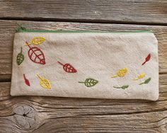 Natural Linen and Cotton Pencil Case with Hand by Yanettine